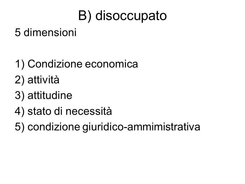 B) disoccupato 5 dimensioni 1) Condizione economica 2) attività 3) attitudine 4) stato di necessità 5) condizione giuridico-ammimistrativa