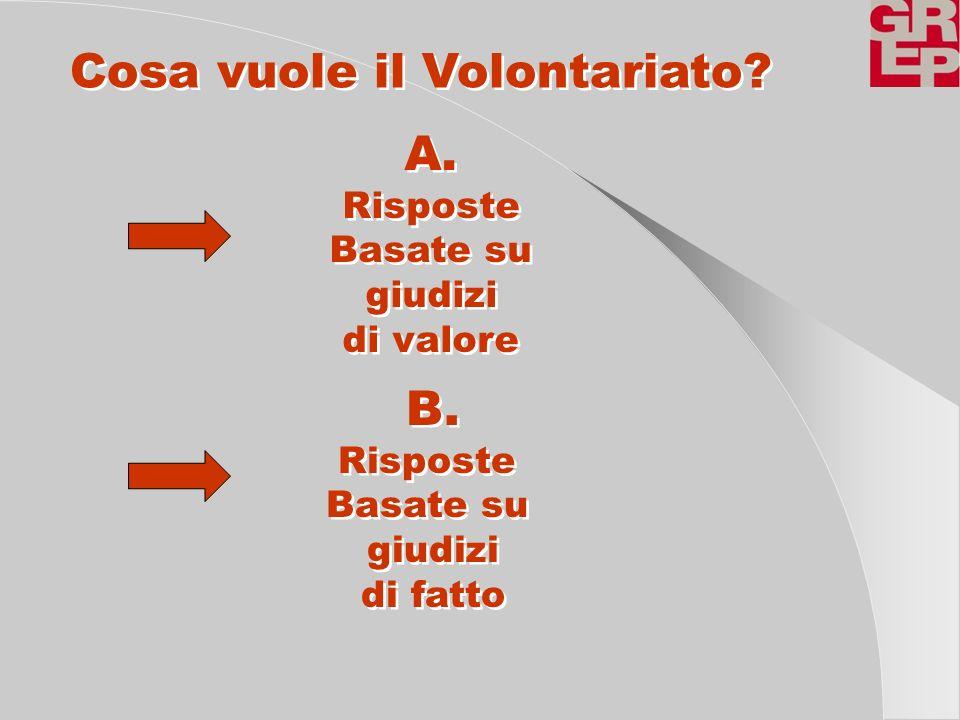 Cosa vuole il Volontariato? A. Risposte Basate su giudizi di valore A. Risposte Basate su giudizi di valore B. Risposte Basate su giudizi di fatto B.
