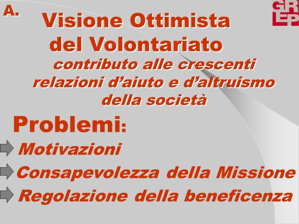 Visione Ottimista del Volontariato Visione Ottimista del Volontariato A. contributo alle crescenti relazioni daiuto e daltruismo della società contrib