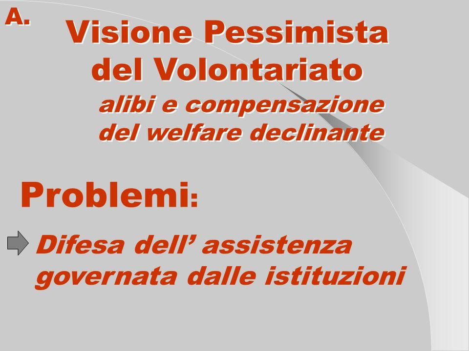 A. Visione Pessimista del Volontariato Visione Pessimista del Volontariato alibi e compensazione del welfare declinante alibi e compensazione del welf