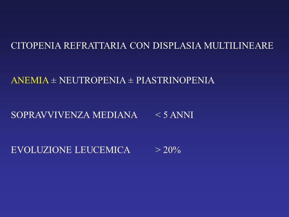 CITOPENIA REFRATTARIA CON DISPLASIA MULTILINEARE ANEMIA ± NEUTROPENIA ± PIASTRINOPENIA SOPRAVVIVENZA MEDIANA< 5 ANNI EVOLUZIONE LEUCEMICA> 20%