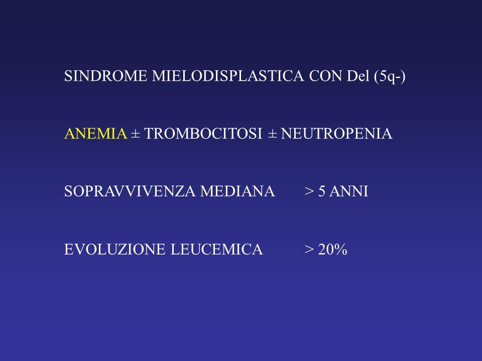 SINDROME MIELODISPLASTICA CON Del (5q-) ANEMIA ± TROMBOCITOSI ± NEUTROPENIA SOPRAVVIVENZA MEDIANA> 5 ANNI EVOLUZIONE LEUCEMICA> 20%
