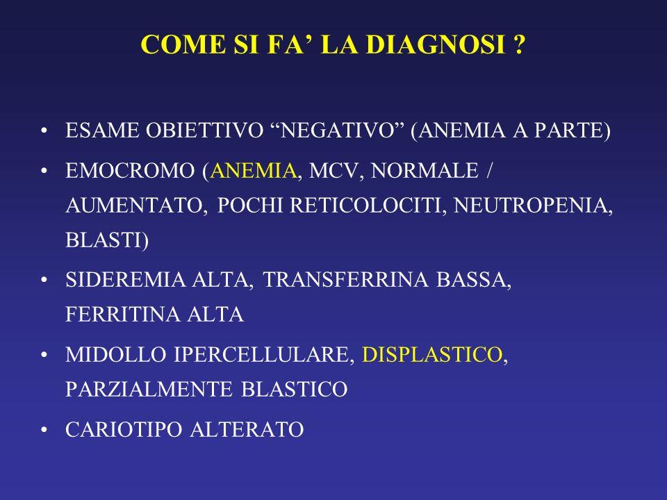 COME SI FA LA DIAGNOSI ? ESAME OBIETTIVO NEGATIVO (ANEMIA A PARTE) EMOCROMO (ANEMIA, MCV, NORMALE / AUMENTATO, POCHI RETICOLOCITI, NEUTROPENIA, BLASTI