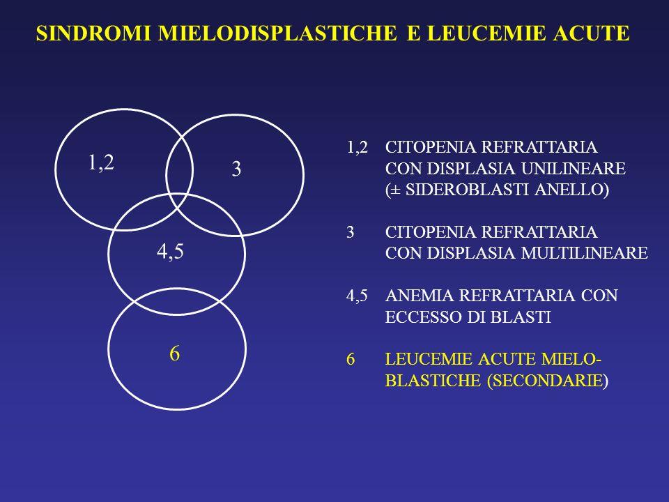 SINDROMI MIELODISPLASTICHE E LEUCEMIE ACUTE 1,2 3 4,5 6 1,2 CITOPENIA REFRATTARIA CON DISPLASIA UNILINEARE (± SIDEROBLASTI ANELLO) 3CITOPENIA REFRATTA