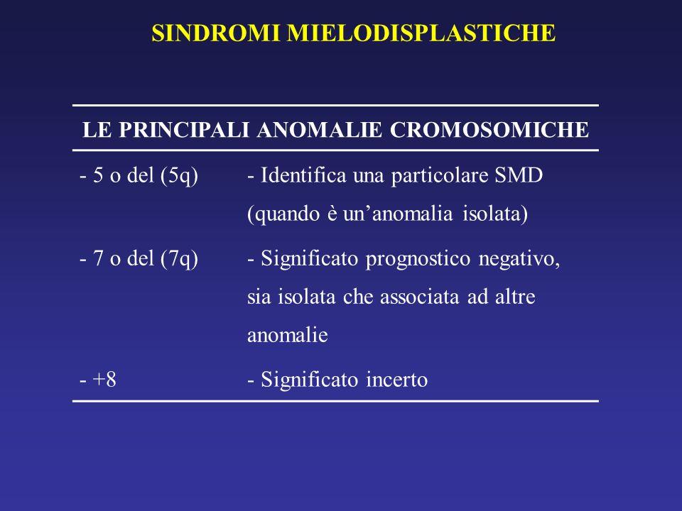 SINDROMI MIELODISPLASTICHE LE PRINCIPALI ANOMALIE CROMOSOMICHE - 5 o del (5q) - Identifica una particolare SMD (quando è unanomalia isolata) - 7 o del