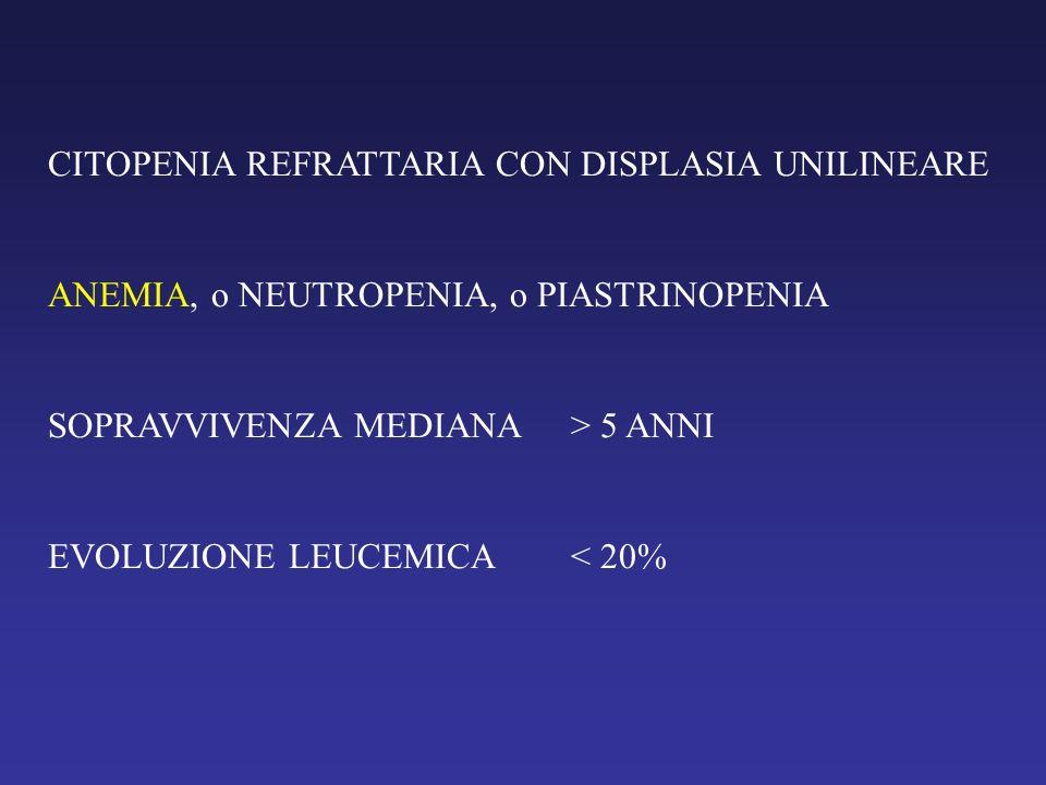 ANEMIA REFRATTARIA CON SIDEROBLASTI AD ANELLO ANEMIA SOPRAVVIVENZA MEDIANA> 5 ANNI EVOLUZIONE LEUCEMICA< 10%