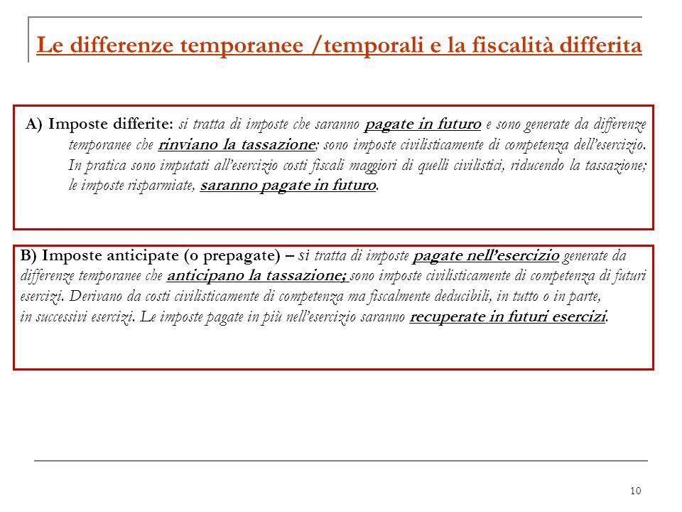 10 Le differenze temporanee /temporali e la fiscalità differita A) Imposte differite: si tratta di imposte che saranno pagate in futuro e sono generat