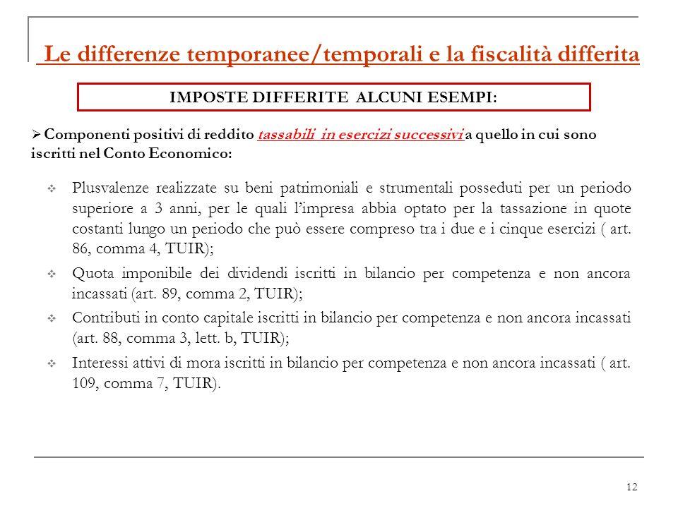 12 Le differenze temporanee/temporali e la fiscalità differita Plusvalenze realizzate su beni patrimoniali e strumentali posseduti per un periodo supe