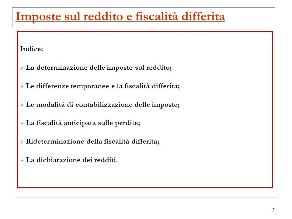 2 Imposte sul reddito e fiscalità differita Indice: La determinazione delle imposte sul reddito; Le differenze temporanee e la fiscalità differita; Le