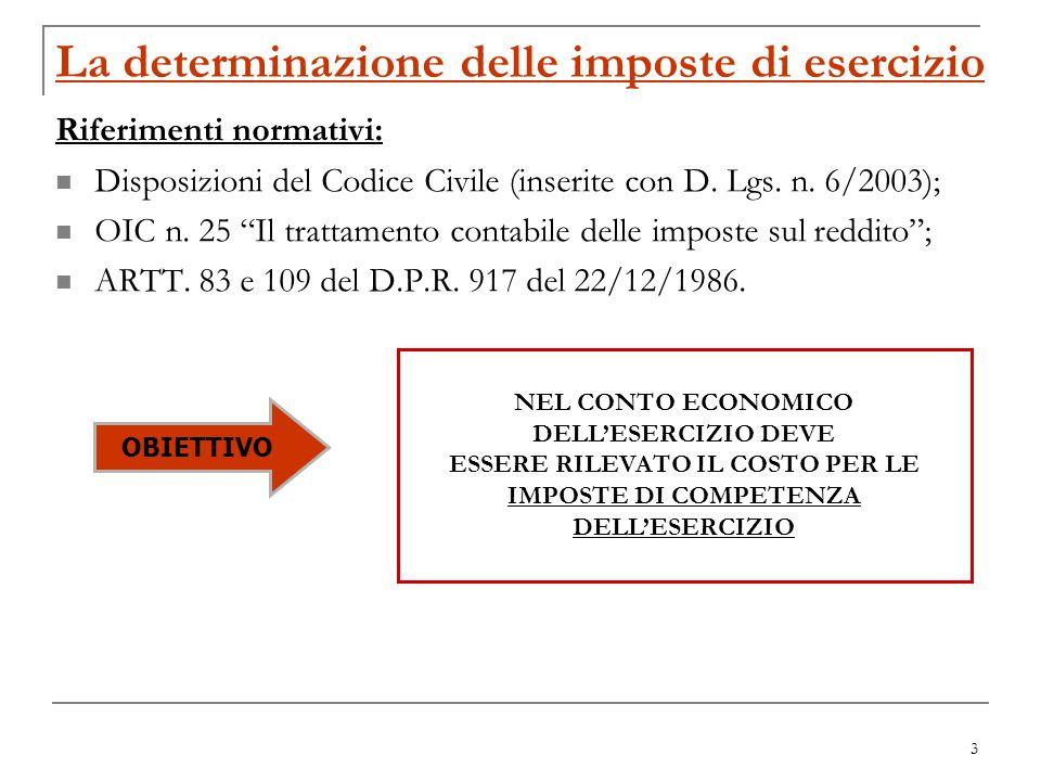 3 La determinazione delle imposte di esercizio Riferimenti normativi: Disposizioni del Codice Civile (inserite con D. Lgs. n. 6/2003); OIC n. 25 Il tr