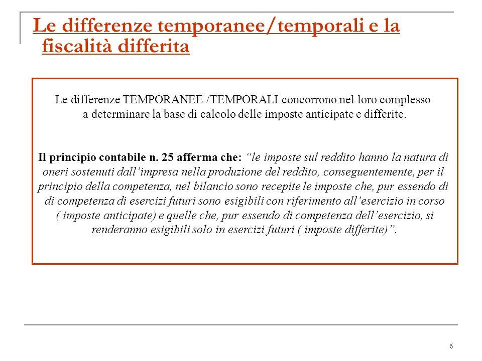 7 La determinazione delle imposte di esercizio Le differenze temporanee/temporali si distinguono in TASSABILI DEDUCIBILI IMPOSTE DIFFERITE IMPOSTE ANTICIPATE Componenti positivi di reddito tassabili in esercizi successivi a quello in cui sono iscritti nel C.E.; Componenti negativi di reddito deducibili in esercizi precedenti a quello in cui saranno iscritti nel C.E.; Differenze imputate direttamente a patrimonio netto tra il valore attribuito ad unattività o ad una passività ed il valore riconosciuto ai fini fiscali.