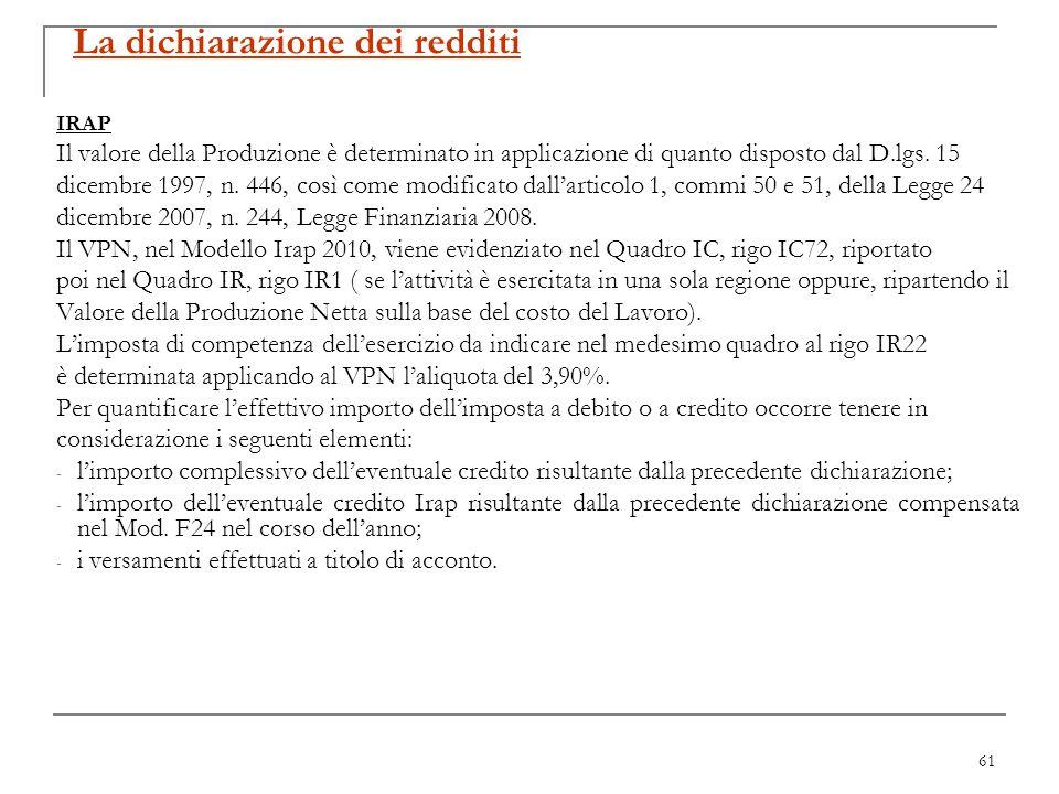 61 La dichiarazione dei redditi IRAP Il valore della Produzione è determinato in applicazione di quanto disposto dal D.lgs. 15 dicembre 1997, n. 446,
