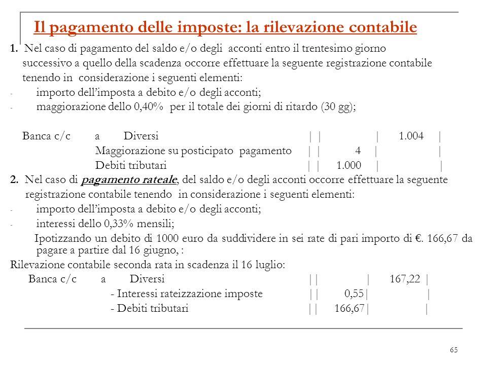65 Il pagamento delle imposte: la rilevazione contabile 1. Nel caso di pagamento del saldo e/o degli acconti entro il trentesimo giorno successivo a q