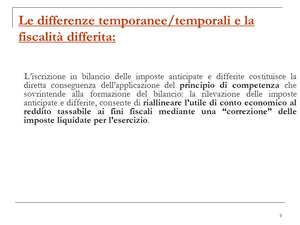9 Le differenze temporanee/temporali e la fiscalità differita: Liscrizione in bilancio delle imposte anticipate e differite costituisce la diretta con
