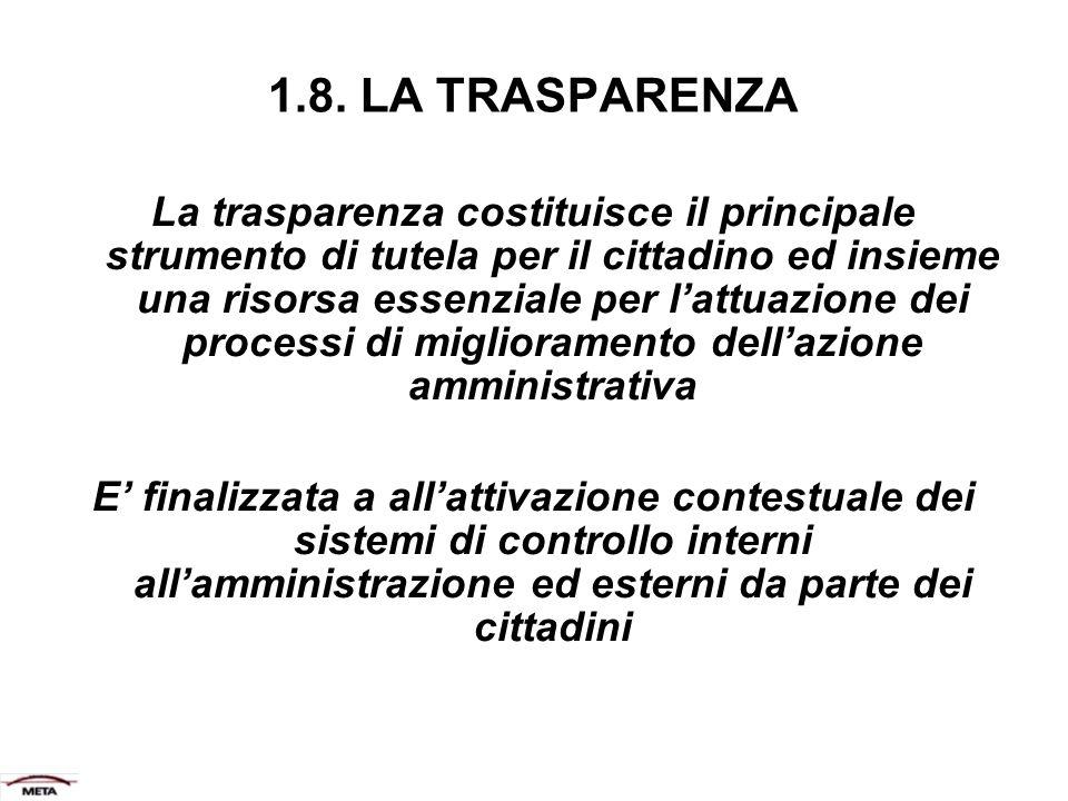 1.8. LA TRASPARENZA La trasparenza costituisce il principale strumento di tutela per il cittadino ed insieme una risorsa essenziale per lattuazione de