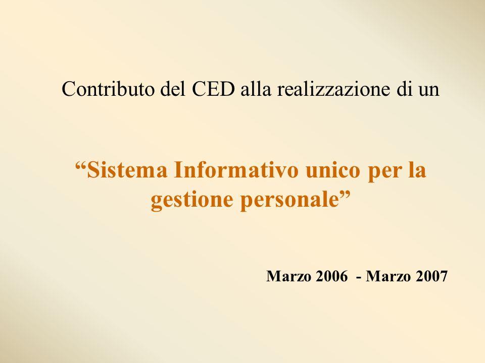 Contributo del CED alla realizzazione di un Sistema Informativo unico per la gestione personale Marzo 2006 - Marzo 2007