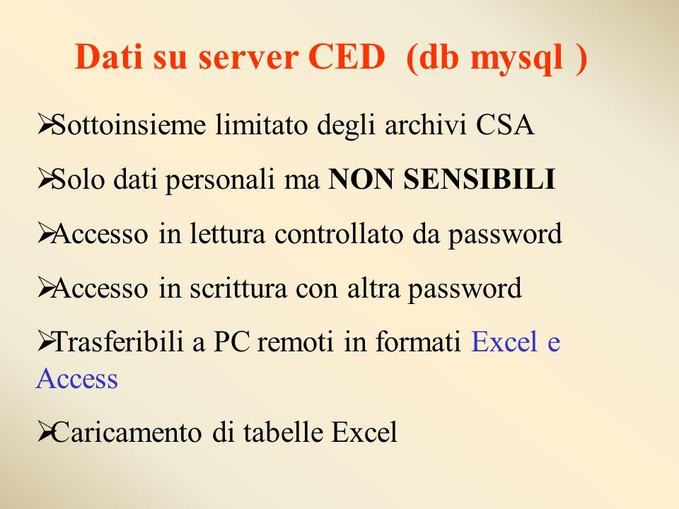 Dati su server CED (db mysql ) Sottoinsieme limitato degli archivi CSA Solo dati personali ma NON SENSIBILI Accesso in lettura controllato da password Accesso in scrittura con altra password Trasferibili a PC remoti in formati Excel e Access Caricamento di tabelle Excel