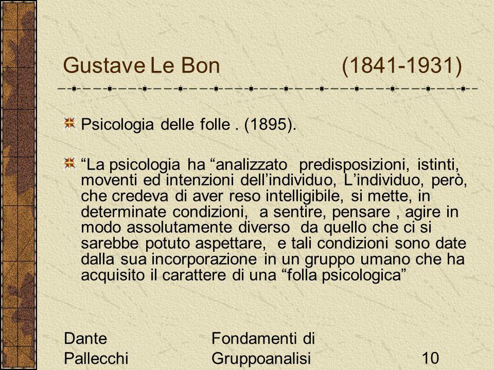 Dante Pallecchi Fondamenti di Gruppoanalisi10 Gustave Le Bon (1841-1931) Psicologia delle folle. (1895). La psicologia ha analizzato predisposizioni,