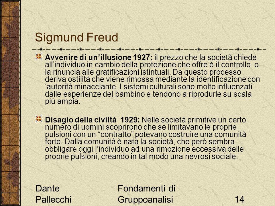 Dante Pallecchi Fondamenti di Gruppoanalisi14 Sigmund Freud Avvenire di unillusione 1927: il prezzo che la società chiede allindividuo in cambio della