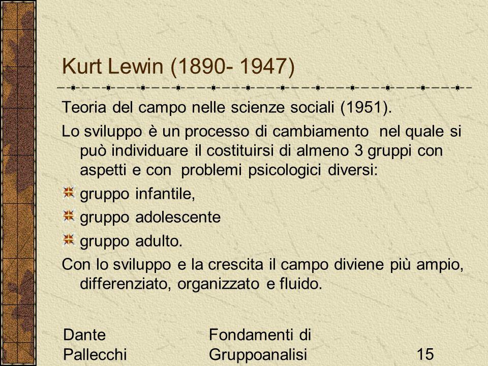 Dante Pallecchi Fondamenti di Gruppoanalisi15 Kurt Lewin (1890- 1947) Teoria del campo nelle scienze sociali (1951). Lo sviluppo è un processo di camb