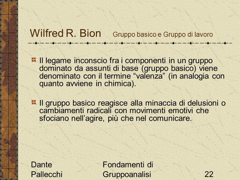 Dante Pallecchi Fondamenti di Gruppoanalisi22 Wilfred R. Bion Gruppo basico e Gruppo di lavoro Il legame inconscio fra i componenti in un gruppo domin