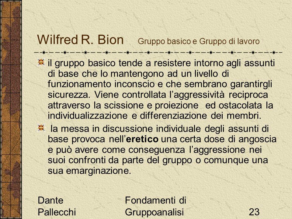 Dante Pallecchi Fondamenti di Gruppoanalisi23 Wilfred R. Bion Gruppo basico e Gruppo di lavoro il gruppo basico tende a resistere intorno agli assunti