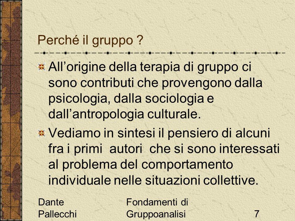 Dante Pallecchi Fondamenti di Gruppoanalisi7 Allorigine della terapia di gruppo ci sono contributi che provengono dalla psicologia, dalla sociologia e