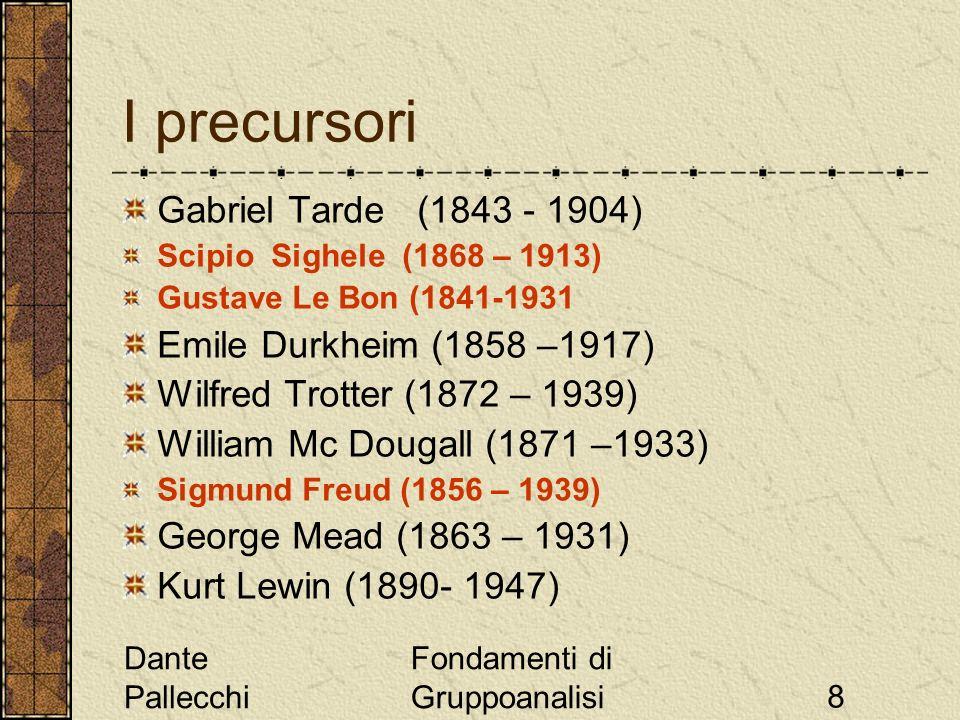 Dante Pallecchi Fondamenti di Gruppoanalisi8 I precursori Gabriel Tarde (1843 - 1904) Scipio Sighele (1868 – 1913) Gustave Le Bon (1841-1931 Emile Dur