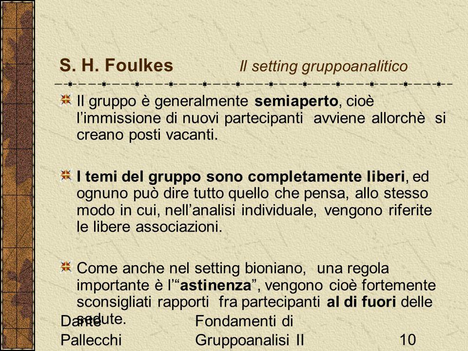 Dante Pallecchi Fondamenti di Gruppoanalisi II10 S. H. Foulkes Il setting gruppoanalitico Il gruppo è generalmente semiaperto, cioè limmissione di nuo