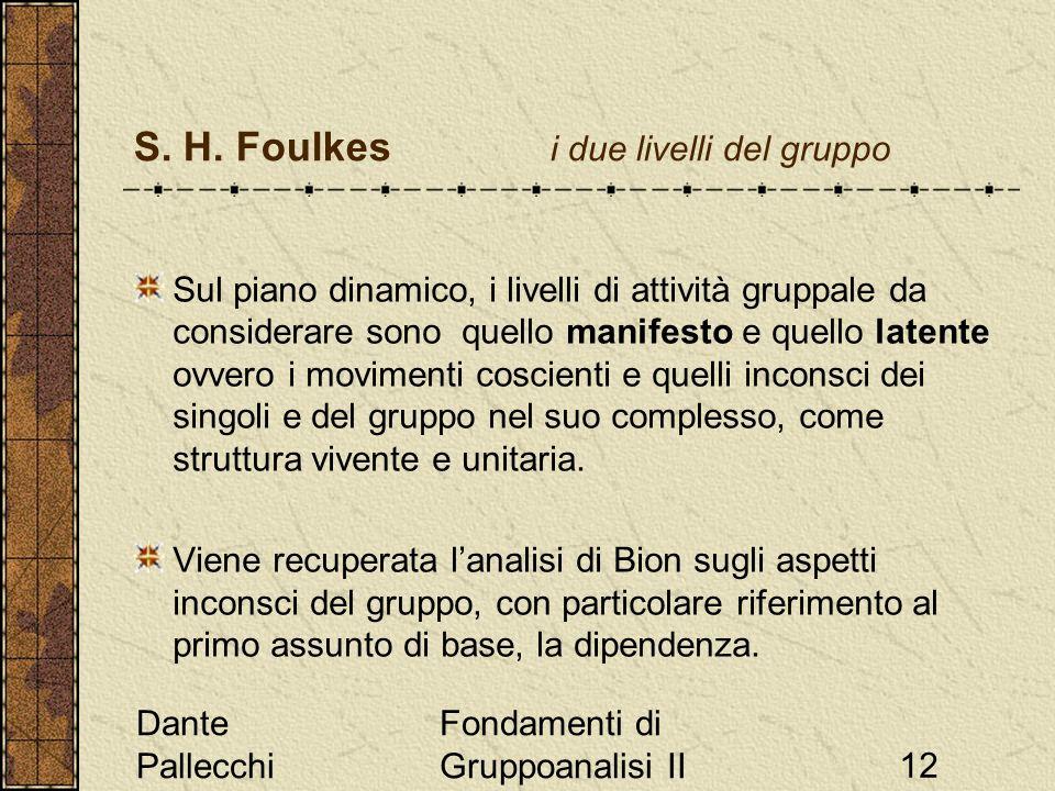 Dante Pallecchi Fondamenti di Gruppoanalisi II12 S. H. Foulkes i due livelli del gruppo Sul piano dinamico, i livelli di attività gruppale da consider