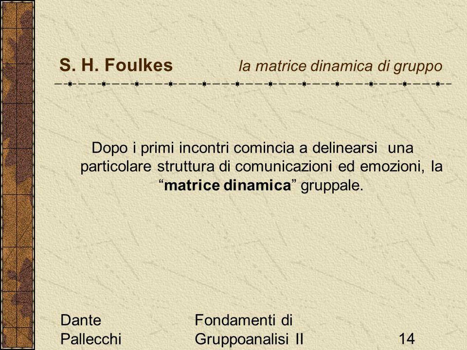 Dante Pallecchi Fondamenti di Gruppoanalisi II14 S. H. Foulkes la matrice dinamica di gruppo Dopo i primi incontri comincia a delinearsi una particola