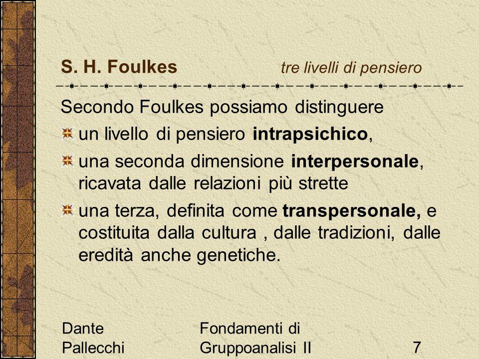 Dante Pallecchi Fondamenti di Gruppoanalisi II7 S. H. Foulkes tre livelli di pensiero Secondo Foulkes possiamo distinguere un livello di pensiero intr