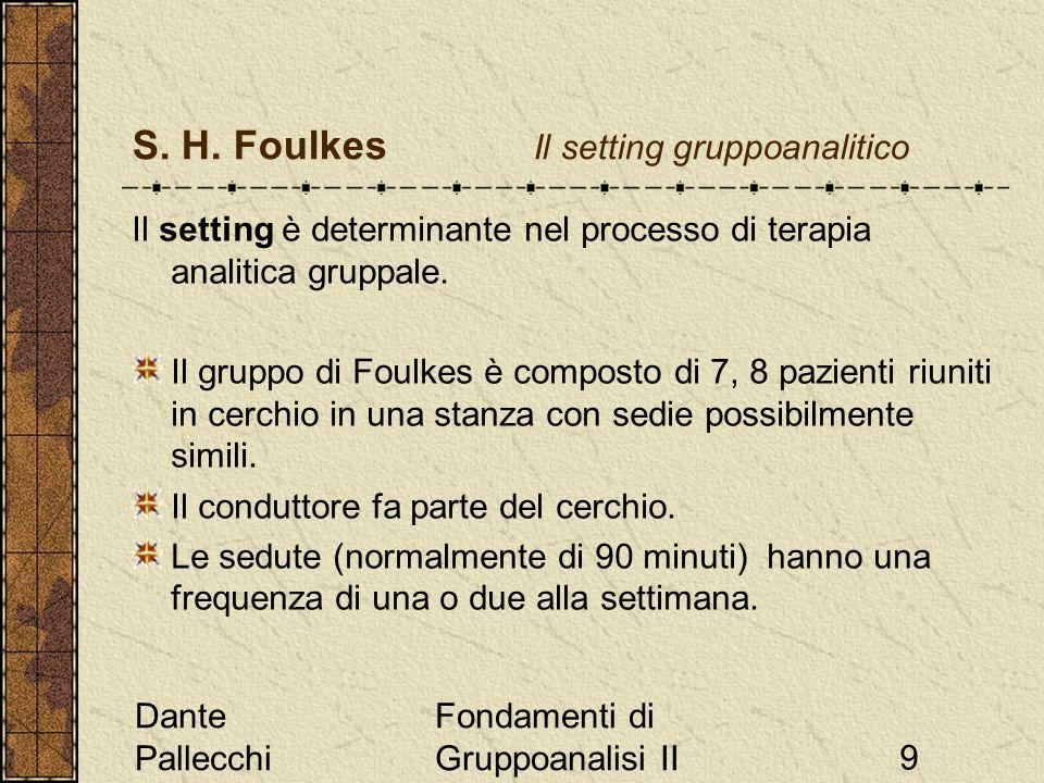 Dante Pallecchi Fondamenti di Gruppoanalisi II9 S. H. Foulkes Il setting gruppoanalitico Il setting è determinante nel processo di terapia analitica g
