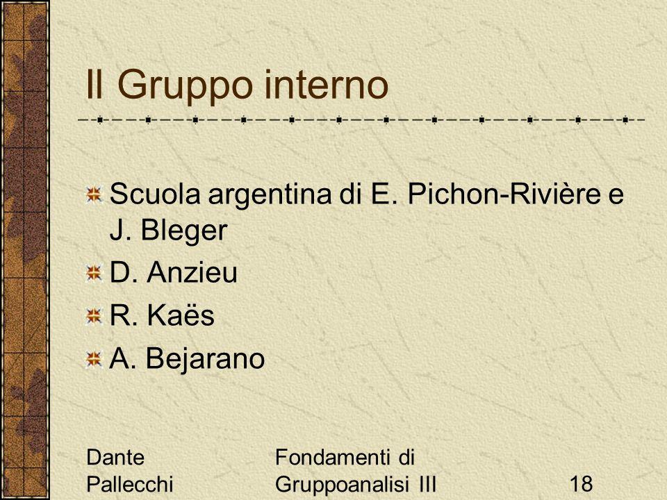 Dante Pallecchi Fondamenti di Gruppoanalisi III18 Il Gruppo interno Scuola argentina di E. Pichon-Rivière e J. Bleger D. Anzieu R. Kaës A. Bejarano