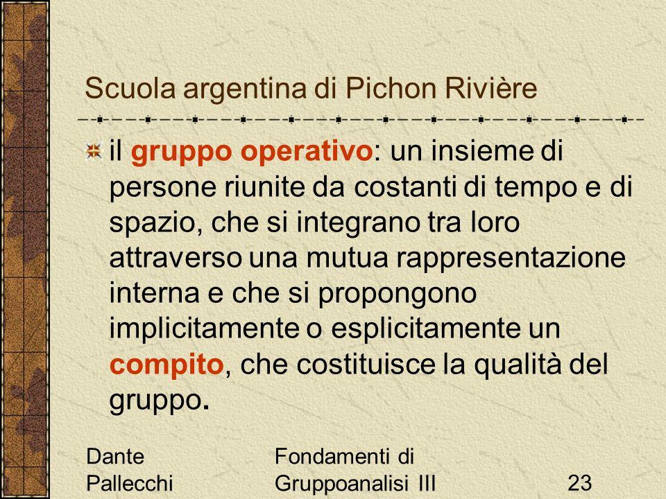 Dante Pallecchi Fondamenti di Gruppoanalisi III23 Scuola argentina di Pichon Rivière il gruppo operativo: un insieme di persone riunite da costanti di
