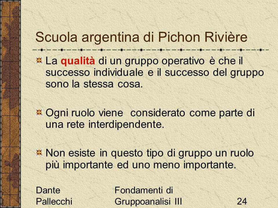 Dante Pallecchi Fondamenti di Gruppoanalisi III24 Scuola argentina di Pichon Rivière La qualità di un gruppo operativo è che il successo individuale e