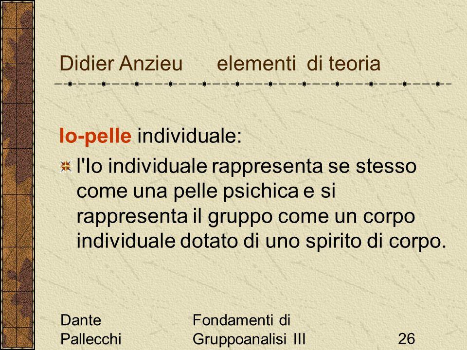 Dante Pallecchi Fondamenti di Gruppoanalisi III26 Didier Anzieu elementi di teoria Io-pelle individuale: l'Io individuale rappresenta se stesso come u