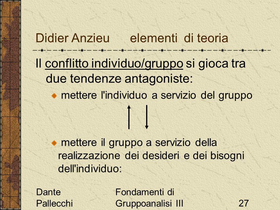 Dante Pallecchi Fondamenti di Gruppoanalisi III27 Didier Anzieu elementi di teoria Il conflitto individuo/gruppo si gioca tra due tendenze antagoniste