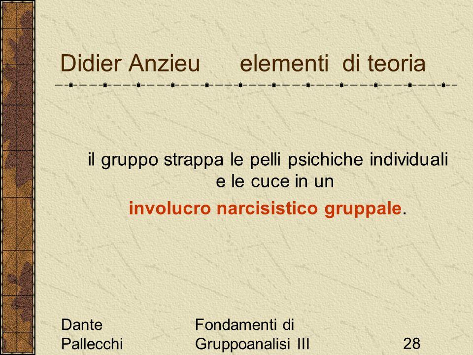 Dante Pallecchi Fondamenti di Gruppoanalisi III28 Didier Anzieu elementi di teoria il gruppo strappa le pelli psichiche individuali e le cuce in un in
