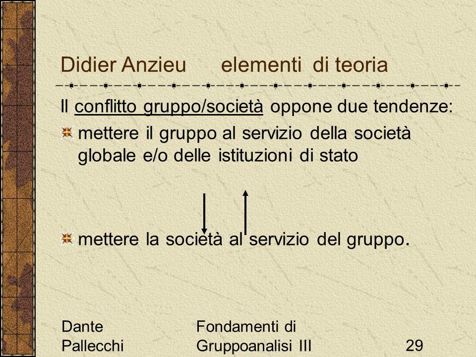Dante Pallecchi Fondamenti di Gruppoanalisi III29 Didier Anzieu elementi di teoria Il conflitto gruppo/società oppone due tendenze: mettere il gruppo