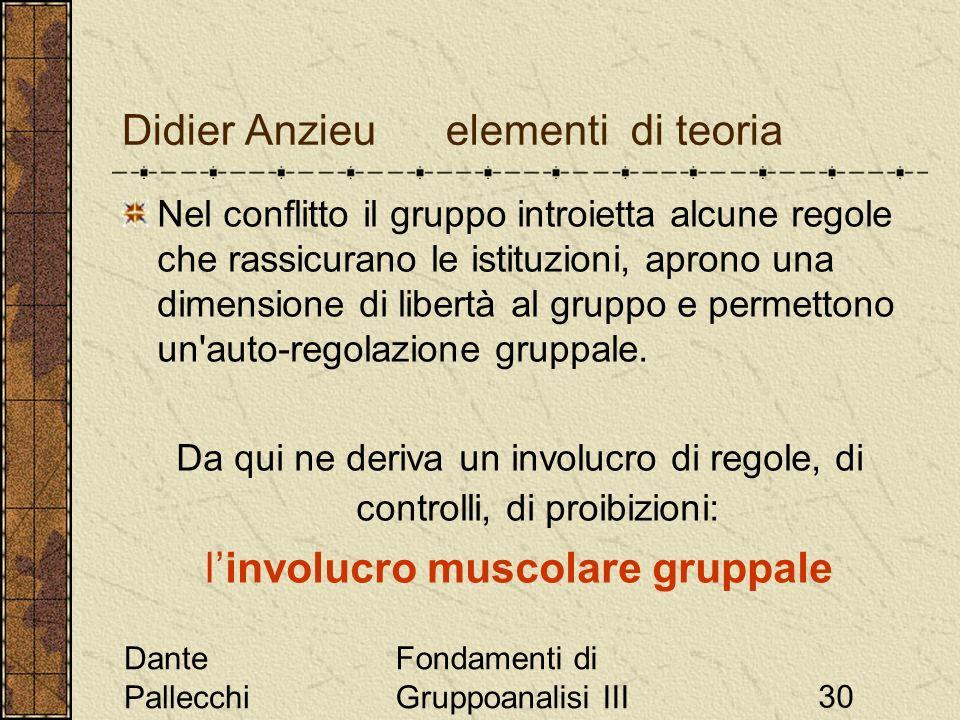 Dante Pallecchi Fondamenti di Gruppoanalisi III30 Didier Anzieu elementi di teoria Nel conflitto il gruppo introietta alcune regole che rassicurano le