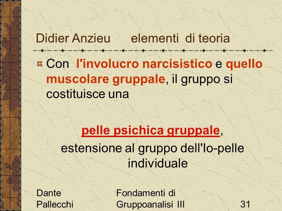 Dante Pallecchi Fondamenti di Gruppoanalisi III31 Didier Anzieu elementi di teoria Con l'involucro narcisistico e quello muscolare gruppale, il gruppo