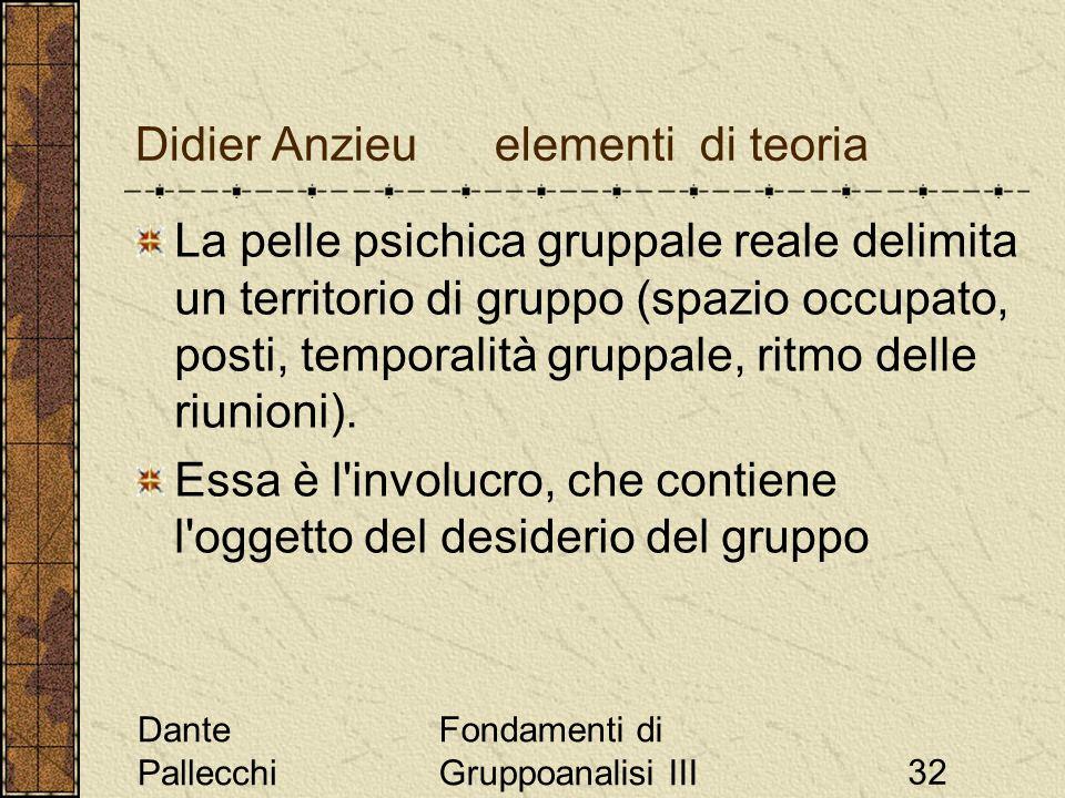 Dante Pallecchi Fondamenti di Gruppoanalisi III32 Didier Anzieu elementi di teoria La pelle psichica gruppale reale delimita un territorio di gruppo (