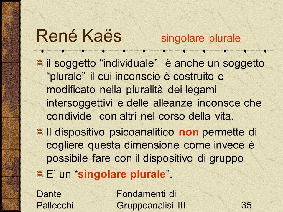 Dante Pallecchi Fondamenti di Gruppoanalisi III35 René Kaës singolare plurale il soggetto individuale è anche un soggetto plurale il cui inconscio è c