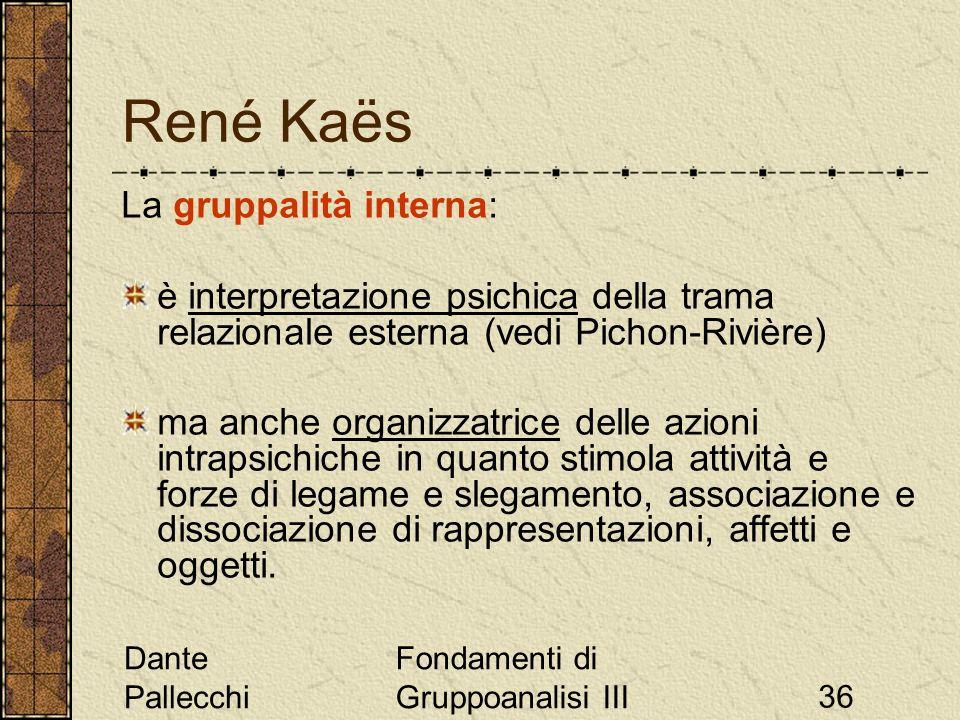 Dante Pallecchi Fondamenti di Gruppoanalisi III36 René Kaës La gruppalità interna: è interpretazione psichica della trama relazionale esterna (vedi Pi