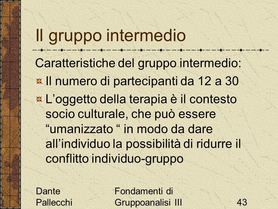 Dante Pallecchi Fondamenti di Gruppoanalisi III43 Il gruppo intermedio Caratteristiche del gruppo intermedio: Il numero di partecipanti da 12 a 30 Log