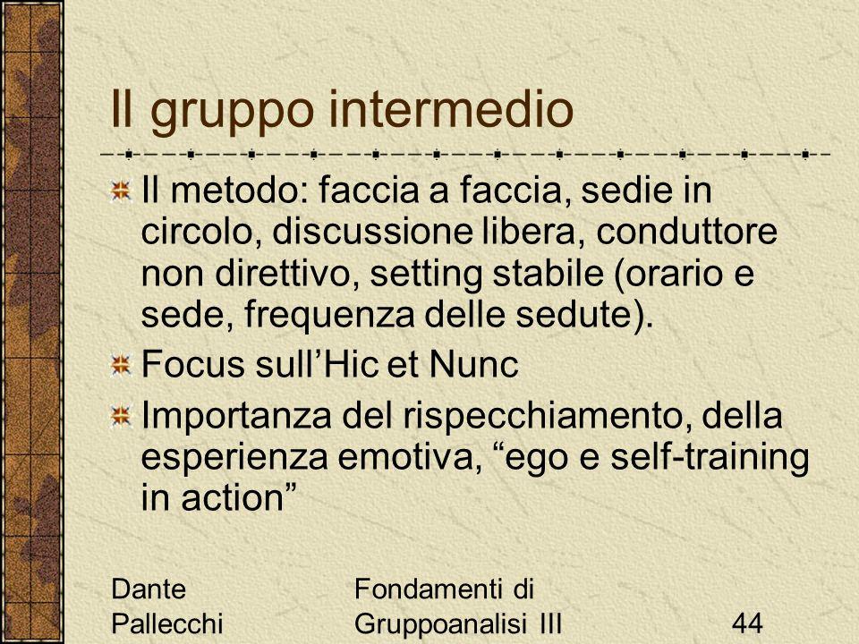 Dante Pallecchi Fondamenti di Gruppoanalisi III44 Il gruppo intermedio Il metodo: faccia a faccia, sedie in circolo, discussione libera, conduttore no