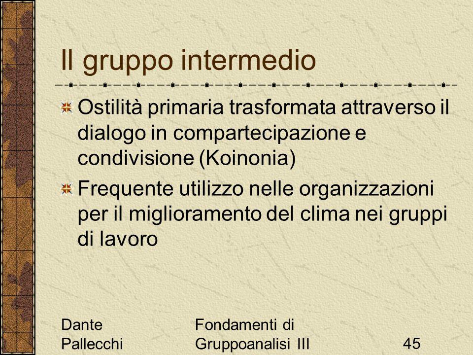 Dante Pallecchi Fondamenti di Gruppoanalisi III45 Il gruppo intermedio Ostilità primaria trasformata attraverso il dialogo in compartecipazione e cond