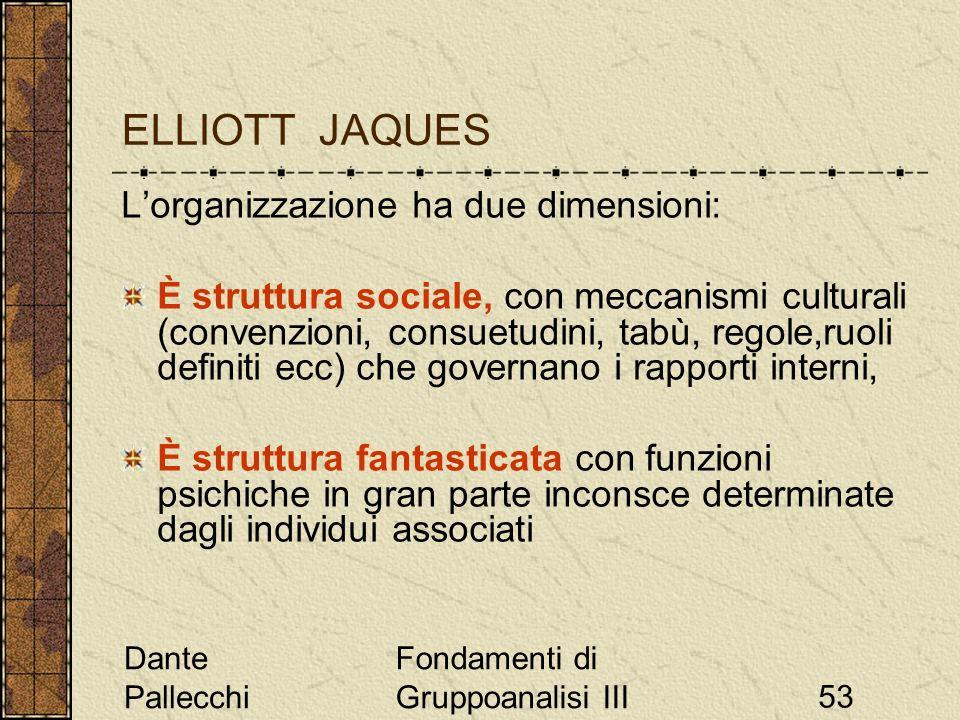 Dante Pallecchi Fondamenti di Gruppoanalisi III53 ELLIOTT JAQUES Lorganizzazione ha due dimensioni: È struttura sociale, con meccanismi culturali (con