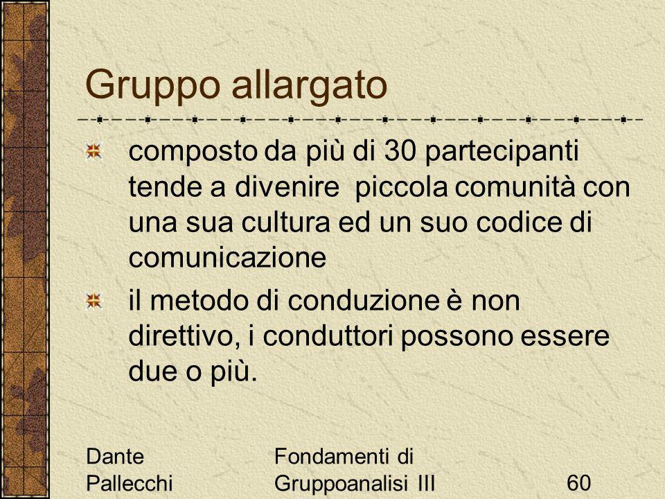 Dante Pallecchi Fondamenti di Gruppoanalisi III60 Gruppo allargato composto da più di 30 partecipanti tende a divenire piccola comunità con una sua cu